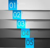 Limpe bandeiras numeradas para o texto da amostra. Vetor Imagens de Stock Royalty Free