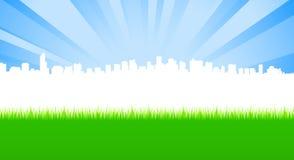 Limpe a cidade e o prado verde ilustração stock