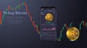 Limpe o conceito de projeto móvel de UI Operação bancária móvel na moda Tecnologia de Cryptocurrency Troca de Bitcoin Analítica f ilustração royalty free