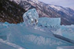 Limpe o gelo transparente Fotografia de Stock Royalty Free