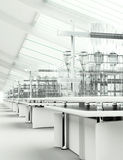 Limpe o interior branco moderno do laboratório Imagem de Stock