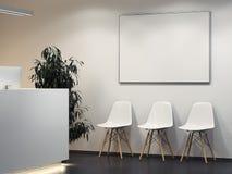 Limpe o interior brilhante com a recepção e a fileira de cadeiras rendição 3d ilustração do vetor