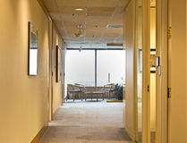Limpe o interior moderno amarelo do escritório Fotos de Stock