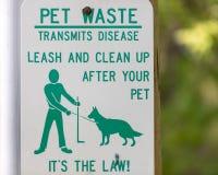 Limpe o sinal Waste do animal de estimação imagens de stock
