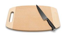 Limpe a placa de estaca de madeira com a faca Foto de Stock
