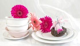 Limpe placas e copos no fundo pastel com as flores e o ovo da páscoa cor-de-rosa Foto de Stock
