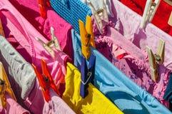 Limpe pregadores de roupa da lavanderia Foto de Stock Royalty Free