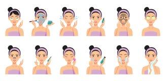 A limpeza bonita da menina e importa-se sua cara com várias ações ilustração stock