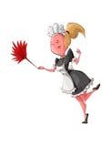 Limpeza da empregada doméstica dos desenhos animados Foto de Stock