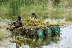 LIMPEZA DA LAGOA fotos de stock