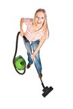 Limpeza da mulher com aspirador de p30 imagem de stock royalty free