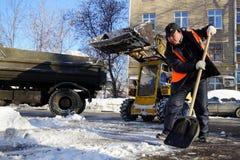 Limpeza da neve Fotografia de Stock