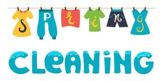 Limpeza da primavera Ilustração da bandeira do vetor Lave a roupa que seca na corda Fotografia de Stock Royalty Free