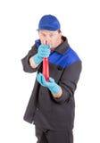 Limpeza do trabalhador algo Imagens de Stock