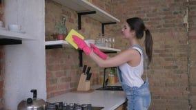A limpeza geral, dona de casa feliz da mulher nas luvas de borracha para limpar limpa a mobília empoeirada video estoque