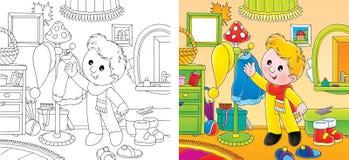 Limpeza pequena do menino a andar Imagens de Stock