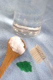 Limpiadores naturales respetuosos del medio ambiente - bicarbonato de sosa y vinagre hecho en casa fotografía de archivo