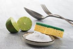 Limpiadores orgánicos - bicarbonato del vinagre blanco, del limón y de sodio foto de archivo libre de regalías