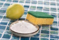 Limpiadores orgánicos - bicarbonato del vinagre blanco, del limón y de sodio foto de archivo