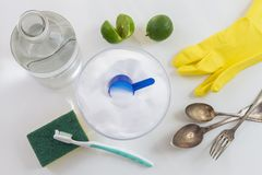 Limpiadores orgánicos Bicarbonato del vinagre blanco, del limón y de sodio imagen de archivo libre de regalías
