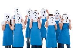 Limpiadores que muestran la muestra de la pregunta Fotografía de archivo
