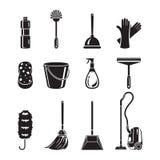 Limpiando, iconos de los aparatos electrodomésticos fijados, monocromático Fotografía de archivo libre de regalías