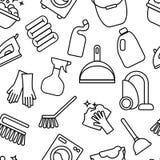 Limpiando, línea iconos del lavado Lavadora, esponja, fregona, hierro, aspirador, fondo clining de la pala La orden en la casa en Fotos de archivo libres de regalías
