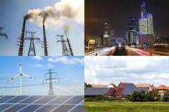Limpie contra energía sucia Los paneles solares y turbinas de viento contra fu Imágenes de archivo libres de regalías