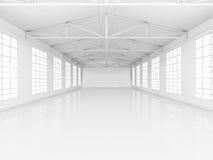 Limpie el almacén vacío blanco con las ventanas stock de ilustración