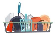 Limpie el Dishware en lavaplatos Estilo plano de la historieta ilustración del vector