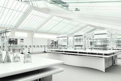 Limpie el interior blanco moderno del laboratorio Imagen de archivo libre de regalías