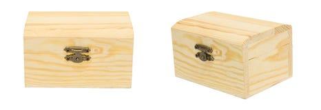 Limpie el pecho de madera cerrado vintage Isolat del cajón de la caja del ángulo de la variación Fotografía de archivo libre de regalías