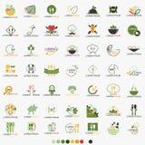 Limpie el restaurante Logo Set sano - vector de la comida stock de ilustración