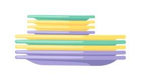 Limpie el utensilio vacío de la cocina del dishware de los platos que cocina el ejemplo plano del vector del vajilla stock de ilustración