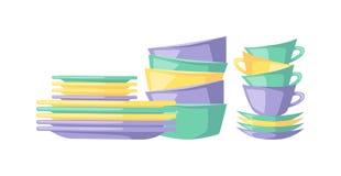 Limpie el utensilio vacío de la cocina del dishware de los platos que cocina el ejemplo plano del vector del vajilla Foto de archivo libre de regalías