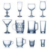 Limpie la colección vacía de la cristalería Imagen de archivo libre de regalías
