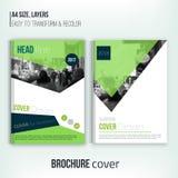 Limpie la plantilla de la cubierta del folleto con paisaje blured de la ciudad y formas triangulares Identidad corporativa azul D ilustración del vector