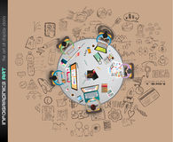 Limpie la plantilla de la disposición de Infographic para el análisis de los datos y de la información Fotos de archivo libres de regalías
