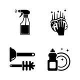 Limpie la superficie Iconos relacionados simples del vector ilustración del vector