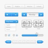 Limpie los controles azules claros de la interfaz de usuario Elementos del Web Sitio web, software UI: Botones, interruptores, fl Imagen de archivo libre de regalías