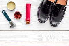Limpie los zapatos Sistema de productos del cuidado del zapato Polaco, cepillos, cera Espacio blanco de la copia de la opinión su Imagen de archivo