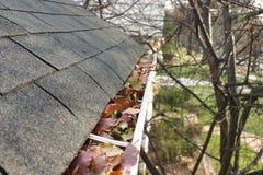 Limpieza de la caída - hojas en el canal #1 Imagen de archivo
