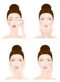 Limpieza de la cara de la mujer, cuatro etapas Fotografía de archivo libre de regalías