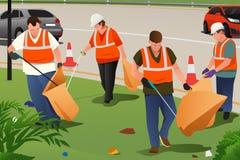 Limpieza de la comunidad en el borde de la carretera ilustración del vector