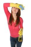 Limpieza de la criada de la mujer Imagenes de archivo