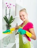 Limpieza de la muchacha en el apartamento Fotos de archivo