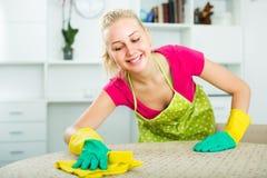 Limpieza de la muchacha en el apartamento Fotografía de archivo libre de regalías