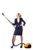 Limpieza de la mujer con el aspirador Foto de archivo libre de regalías