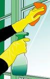 Limpieza de las ventanas ilustración del vector