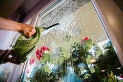 Limpieza de ventana en casa imagenes de archivo